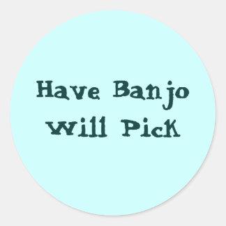Have Banjo Will Pick Classic Round Sticker