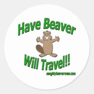 Have Beaver Will Travel Round Sticker