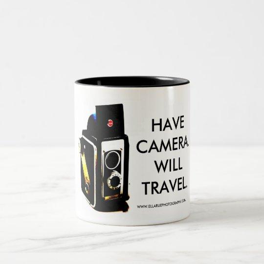 HAVE CAMERA.WILL TRAVEL. AWESOME MUG! Two-Tone COFFEE MUG