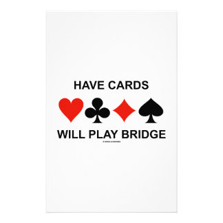 Have Cards Will Play Bridge (Four Card Suits) Stationery Design