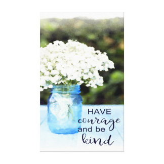 """""""Have Courage"""" Blue Floral Watercolor Wall Art"""