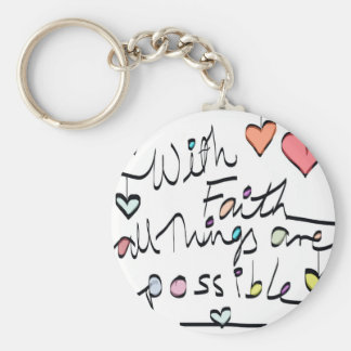 Have Faith. Quote word message colour design Basic Round Button Key Ring