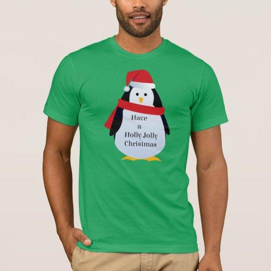 """Have Holly Jolly Christmas"" Santa Penguin T Shirt"