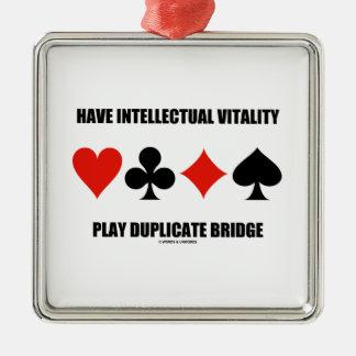 Have Intellectual Vitality Play Duplicate Bridge Silver-Colored Square Decoration