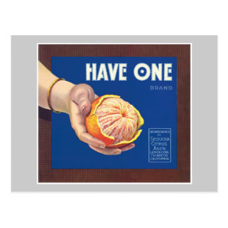 Have One Orange Vintage Label Postcard
