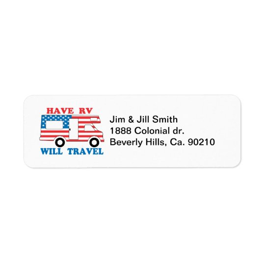 Have RV Will Travel America Return Address Label