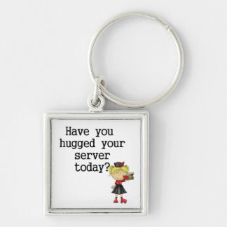 Have You Hugged Your Server Silver-Colored Square Key Ring
