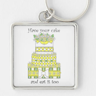 Have Your Cake Silver-Colored Square Key Ring