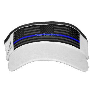 Have Your Text Thin Blue Line Custom Grey US Flag Visor