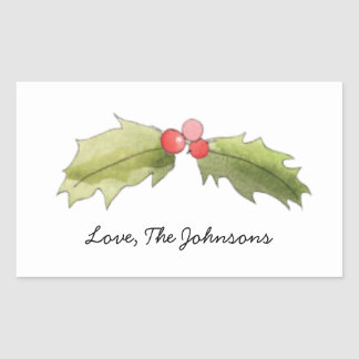 Have Yourself A Merry Little Christmas Holly Berry Rectangular Sticker