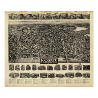 Haverhill Mass. 1914 Antique Panoramic Map Poster