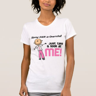 Having Hair Overrated Breast Cancer Stick Figure Shirt