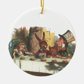 Having Tea With The Hatter and White Rabbit Round Ceramic Decoration