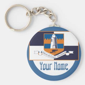 Havre de Grace, Maryland -  FLAG Basic Round Button Key Ring