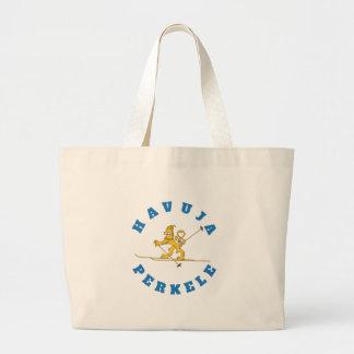Havuja perkele - hiihtävä suomileijona kangaskassi large tote bag
