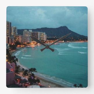 HAWAII ALOHA COLLECTION SQUARE WALL CLOCK