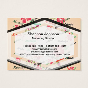Hawaii flower business cards business card printing zazzle uk hawaii aloha print with flowers and island names business card reheart Images