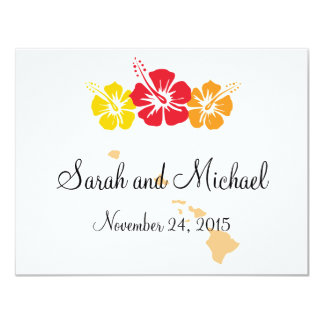 Hawaii and Hibiscus Flower Favor Tag 11 Cm X 14 Cm Invitation Card