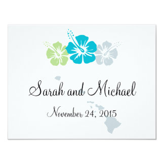 Hawaii and Hibiscus Flower Favor Tag Card