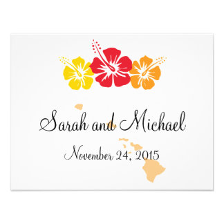 Hawaii and Hibiscus Flower Favor Tag Custom Invite