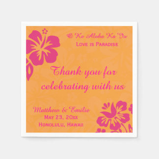Hawaii Beach Flowers Personalized Wedding Napkins Disposable Napkin