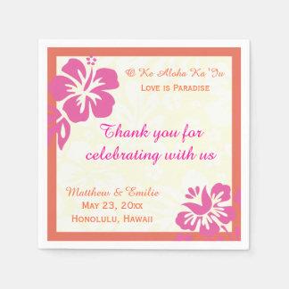 Hawaii Beach Flowers Personalized Wedding Napkins Paper Napkins