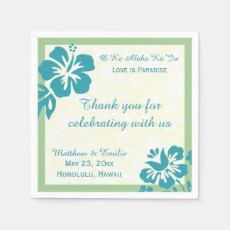 Hawaii Beach Flowers Personalized Wedding Napkins Paper Serviettes