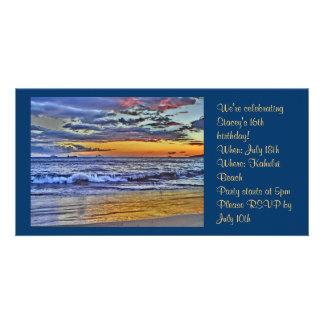 Hawaii beach photo invitation custom photo card