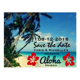 Hawaii Beach Wedding Save The Date Postcards