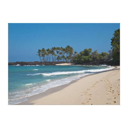 Hawaii Beach with footprints in the sand Canvas
