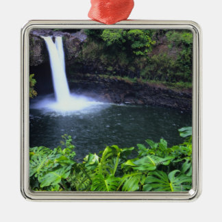 Hawaii, Big Island, Hilo, Rainbow Falls, Lush Christmas Ornament
