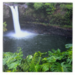 Hawaii, Big Island, Hilo, Rainbow Falls, Lush Large Square Tile