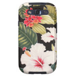 Hawaii Black Hibiscus Hawaiian Aloha Shirt Galaxy S3 Cases
