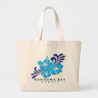 Hawaii Blue Hibiscus Flower Large Tote Bag