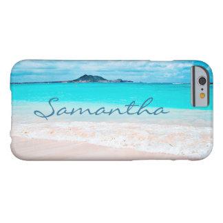 Hawaii blue ocean & sandy beach photo custom name barely there iPhone 6 case