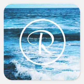Hawaii blue ocean waves photo custom monogram square sticker