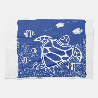 Hawaii Blue Turtle Tea Towel