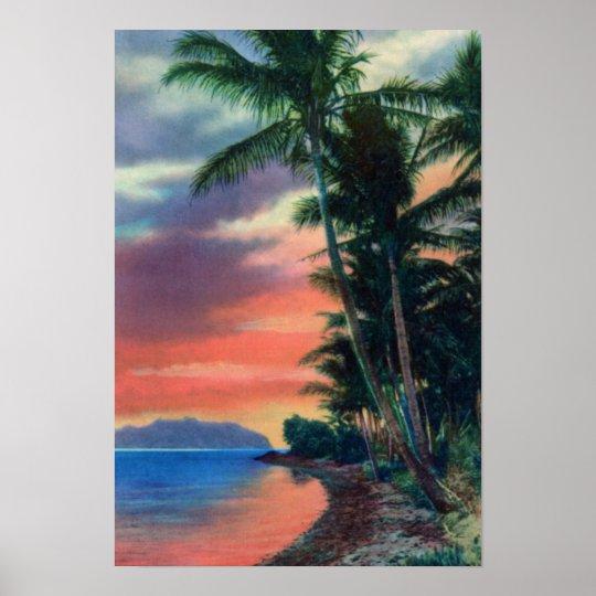 Hawaii Coast at Sunset Poster
