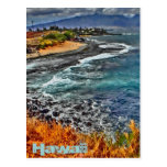 Hawaii coastline artistic postcard