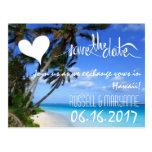 Hawaii Destination Beach Wedding Save the Date Post Card