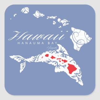 Hawaii Dolphins Square Sticker