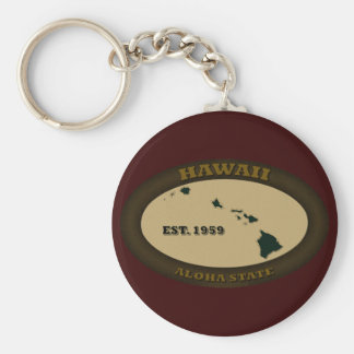 Hawaii Est. 1959 Basic Round Button Key Ring