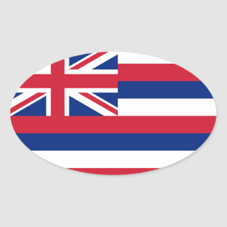 Hawaii* Flag Euro-style Oval Oval Sticker