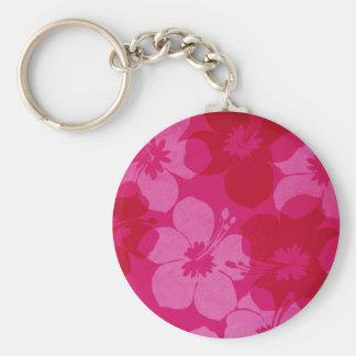 Hawaii flower basic round button key ring