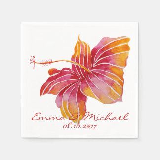 Hawaii Flower Personalized Wedding Paper Napkins Disposable Napkin