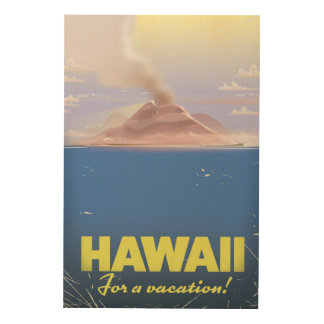 Hawaii for a vacation! vintage travel poster wood print
