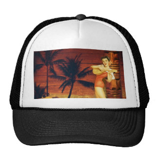 hawaii Girl Palm Tree totem pole Floral hibiscus Cap