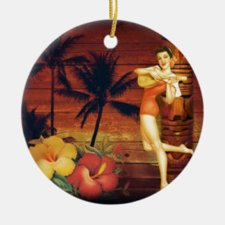 hawaii Girl Palm Tree totem pole Floral hibiscus Round Ceramic Decoration