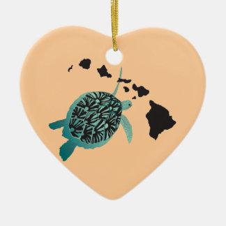 Hawaii Green Sea Turtle and Hawaii Islands Christmas Ornament