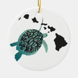 Hawaii green Sea Turtle and Hawaii Islands Round Ceramic Decoration